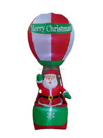 270cm/9ft inflatable hot air balloon for christmas, a santa claus standing inside happily