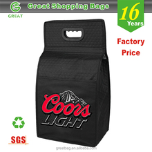Reusable Insulated Non woven 6 Bottle divided Wine Tote Bag