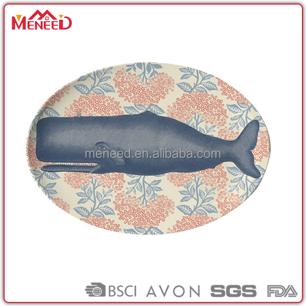16inch Food shark printing oval large decorative plates for hotel