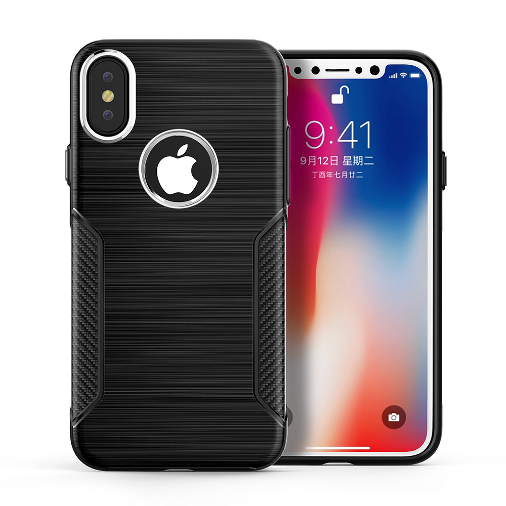 Carbon Fiber TPU Silicon 4 Colors Back Phone Case Cover For Apple Iphone X