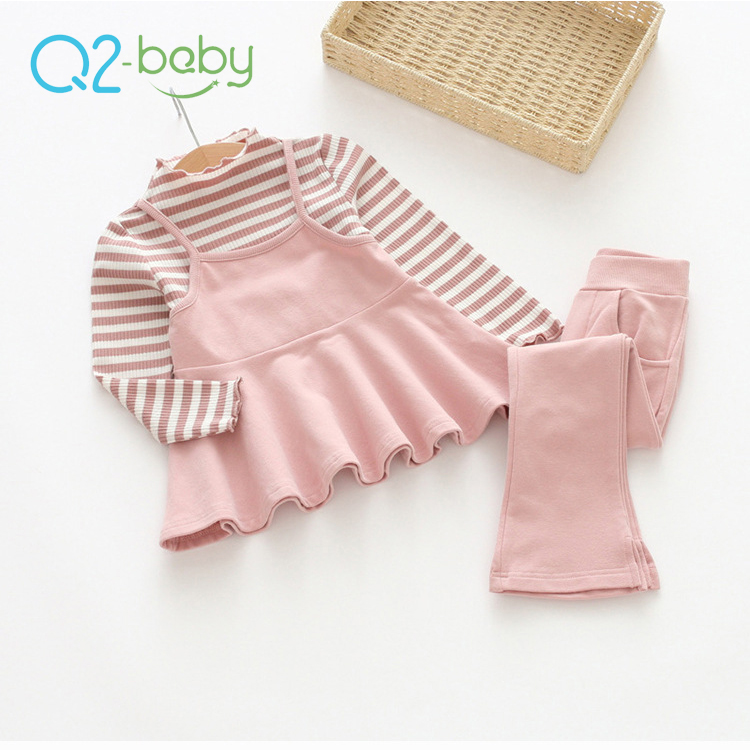 Q2-baby Wholesale Korean Popular Sweater Flare Pants Girl Children Clothing Two Piece Sets