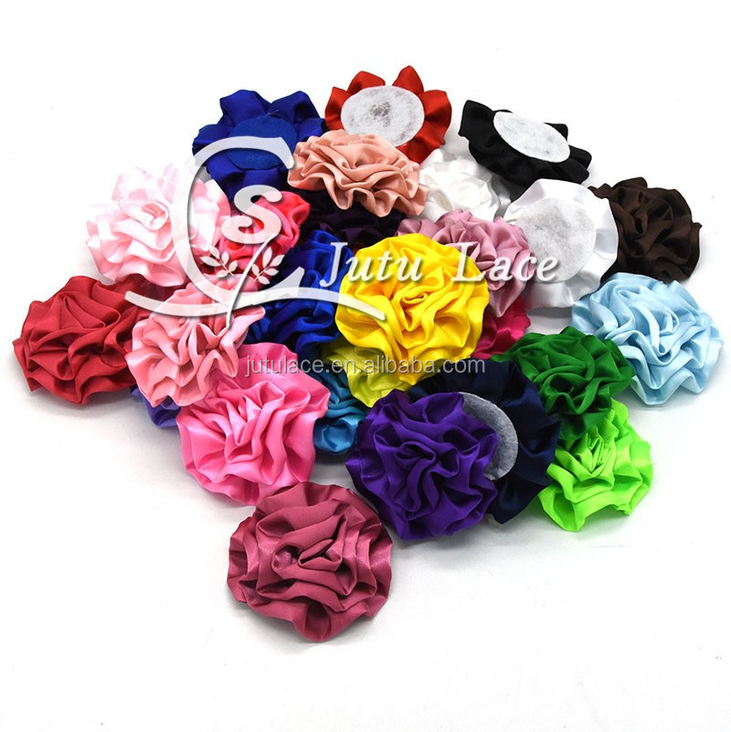 New Hot Sale!! 3inch satin cabbage flower for baby hair accessories