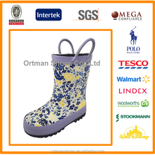 Nice floral printed custom children rubber rain boots