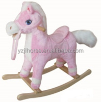 Little Pink Rocking Horse with Wooden Rocking & Handle Bar
