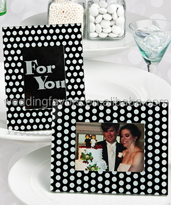BLACK AND WHITE POLKA DOT PHOTO FRAME / PLACE CARD HOLDERS