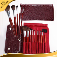 10pcs 2014Newest porfessional cosmetic brush with makeup pouch