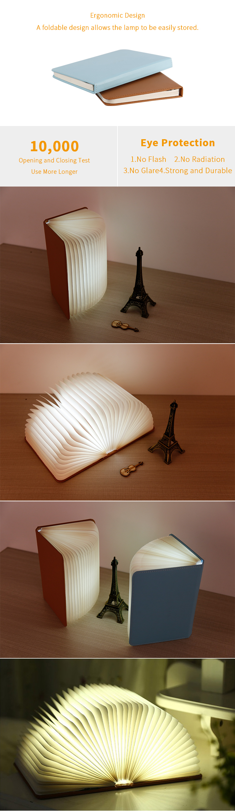OEM and ODM Portable Book Light Folding Led Book Lamp with Reading