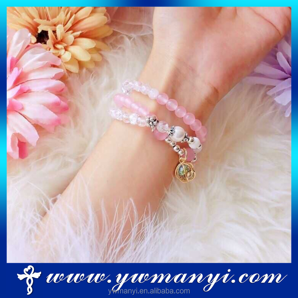 Factory direct fashion various of colorful glass bead bracelet designs women A0005
