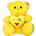 funny yellow heart plush toys stuffed teddy bear , soft smile bear toy