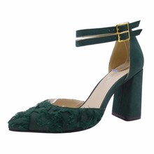Manufacturer Custom design Green Block Heel Pumps Shoes for Ladies