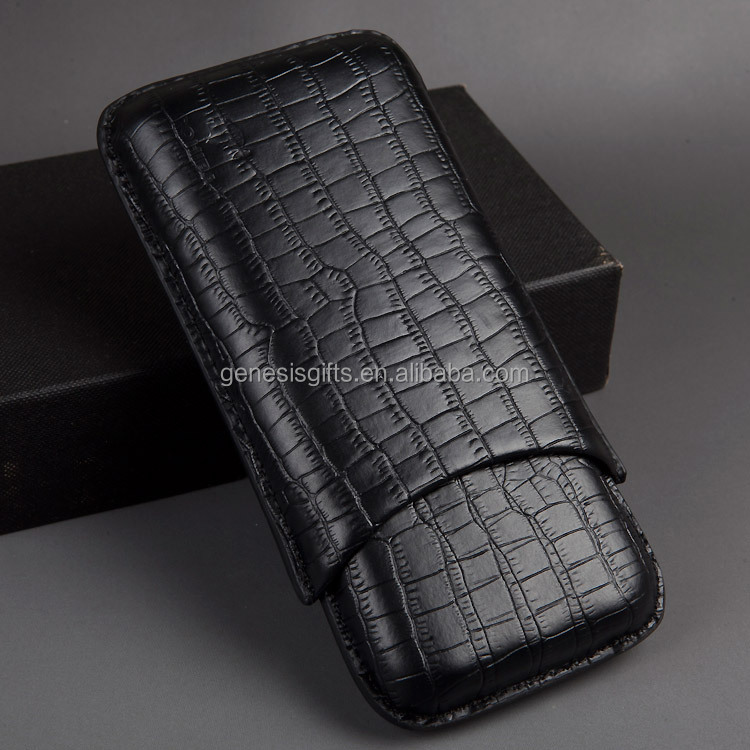 winepackages cigar case with Cutter Set Genuine leather cigar case,cigar tube case,luxury leather 3 finger cigar case