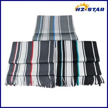 HZW-13004022 selling style polyester winter mens knitte striped make ribbon scarf