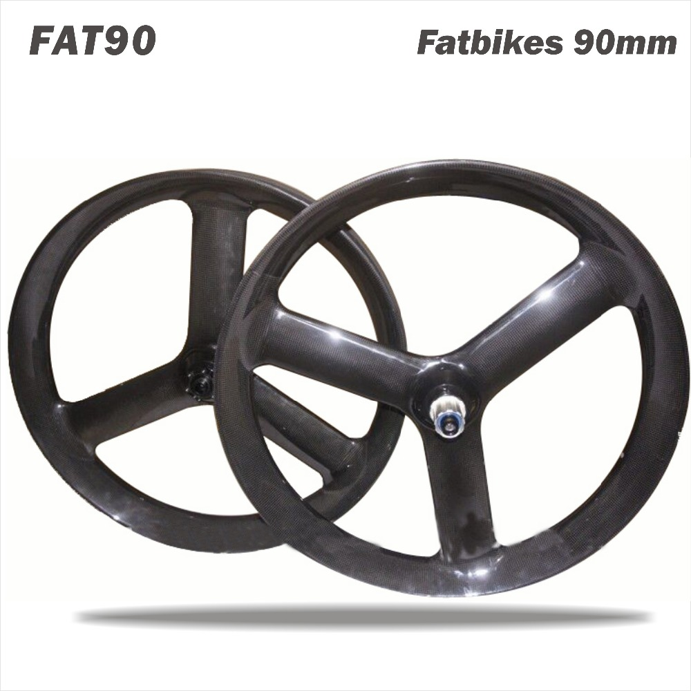 Miracle bike 2017 90MM carbon fat bike wheels 26er*40 (tire for size) fatbike 3 spoke wheel bicycle parts snow bike tri spoke