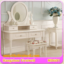 Modern simple design wooden mirrored mdf dressing table with mirror and stool