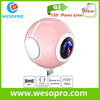 2017 Dual Lens VR Camera Panoramic Wifi 360 Degrees Action Camera for android smart phone
