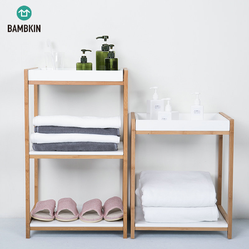 BAMBKIN Bamboo and MDF board 2-tiers storage organizer rack for living room bedroom bath room bamboo two tier white shelf 2 step