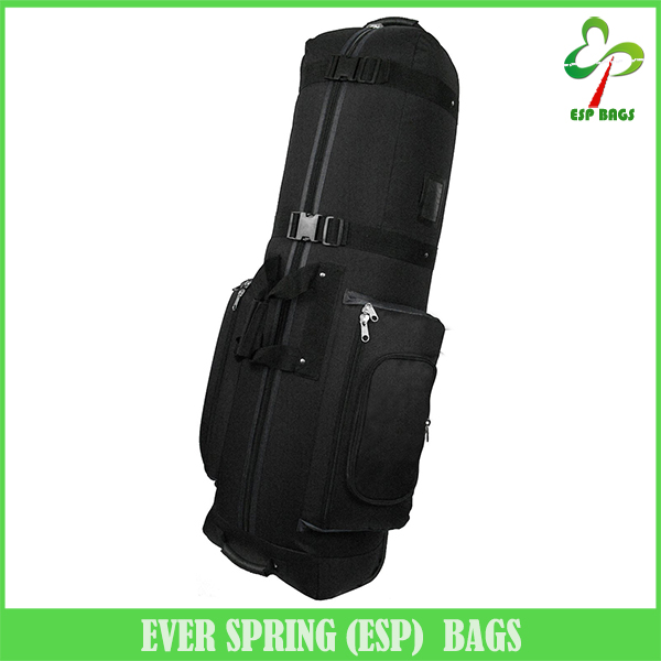 Hot selling nylon fabric travel golf bag with wheels, heavy-duty golf bag with shoe compartment