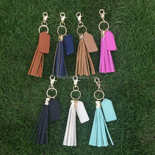 2017 Monogrammed Leather Tassel Keychain Promotional Gold Long Tassel Key chain