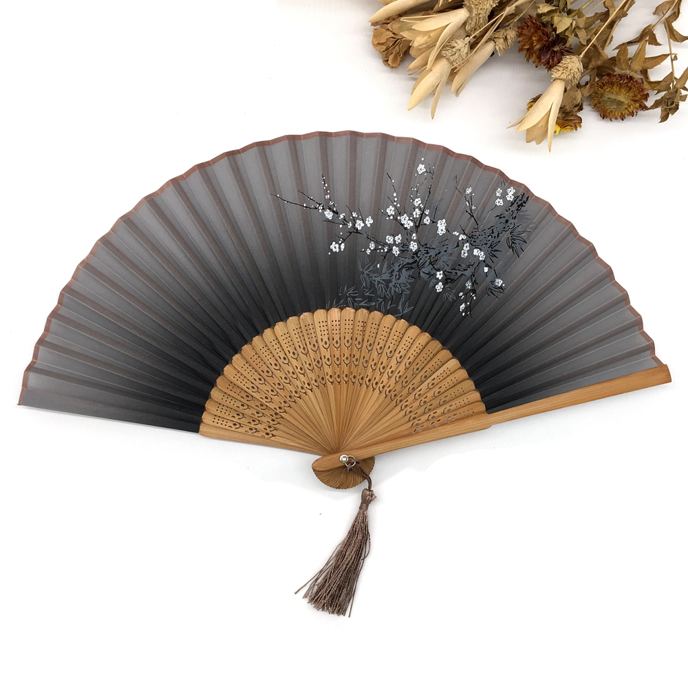 Amazon eBay chinese japanese butterfly flower mini round nylon fabric bamboo silk hand folding fan for wedding in bulk