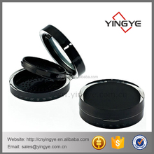 Round fashion black plastic empty compact powder container