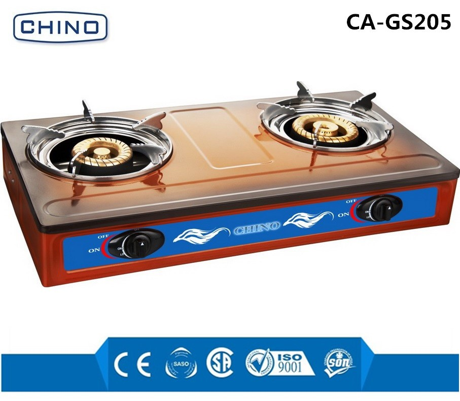 Blue flame Gas Stove with BRASS cap two burner and stainless steel body use the enamel surface