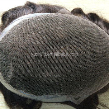 Stock indian remy hair swiss lace hair systems for men , natural hairline toupee