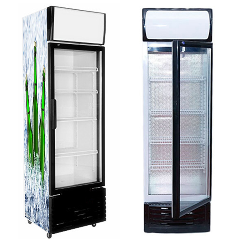 commercial upright supermarket glass door adjustable shelves display refrigerator showcase