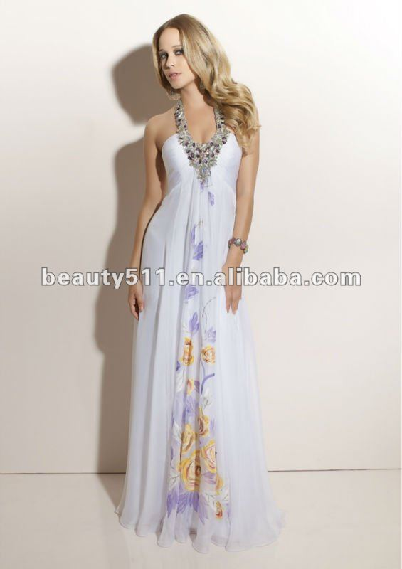 2013 Crystal halter neckline white satin flutter chiffon floor length printed cocktail dress CD91014