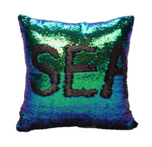 DIY Double Color Glitter Sequins Throw Pillow Case Cafe Home Decoration Cushion