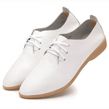 British Style Lace Up Leather Flats Shoes Women Oxfords Casual Soft Sole Footwear