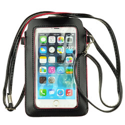 Premium Universal PU Leather Mobile Phone Bag Case Pouch with PVC Window