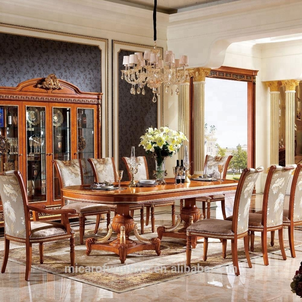 M62 hot sale factory direct price master design royal antique wooden inlay dining room furniture sets with discount