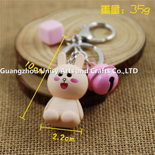 2017 hot sale lovely little rabbit and bells keychain
