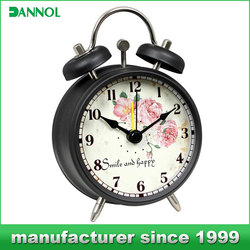 Antique style alarm clock small analog table clock promotion