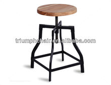 Adjustable stool/Adjustable Wooden Seat Stool/Round Seat Foot Stool