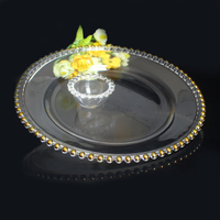 Langxu manufacturer gold rim glass wedding charger plates
