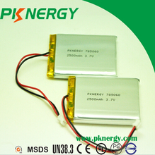 lithium polymer battery 3.7v with 2500mah real size 785060 803860 2000mah
