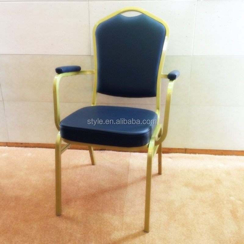 Steel stacking Hotel Banquet Arm Chair For Banquet/Wedding/Restaurant
