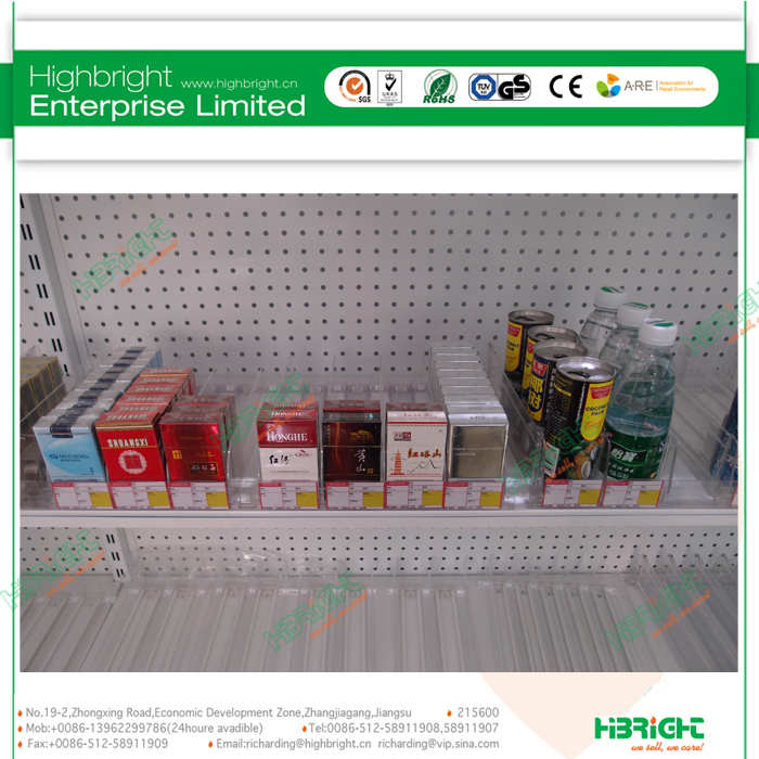 convenience store plastic shelf display pusher for cans