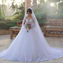 ON3040 Tulle Appliques Long Sleeve Chapel Train Princess Ball Gown Wedding Dresses 2016 Robe De Mariage Bridal Gown