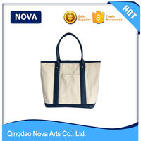 Canvas beach tote bag wholesale with leather handle