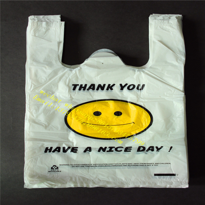Cheap supermarket plastic t-shirt shopping bag with vest handles for snack food packaging