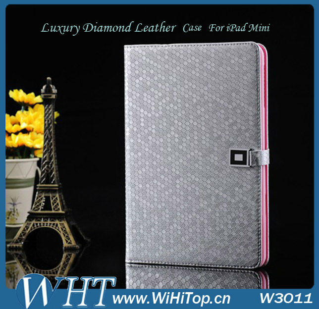 High Quality Diamond Leather For iPad Mini Leather Case Cover.Folio Leather Wallet Case for iPad Mini 7.9 inch.WHTS003