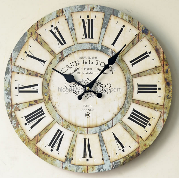 New Popular Vintage Round Wood Wall Clock for Home Decoration