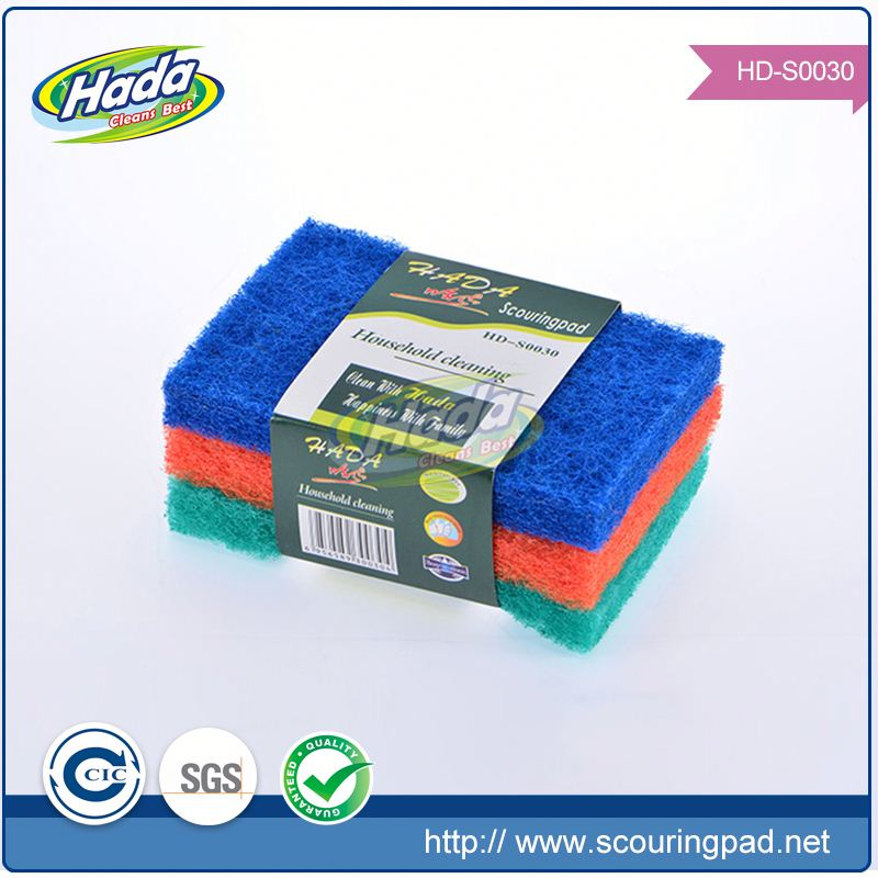 Wholesale non scratch kitchen clean double action scouring pads