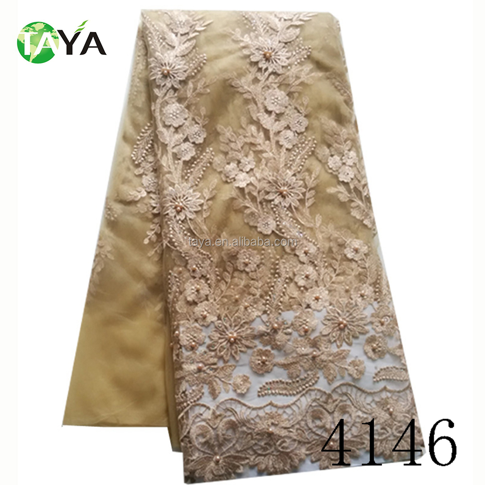 2017 High quality wholesale textile tulle african champagne wedding embroidery french lace fabric
