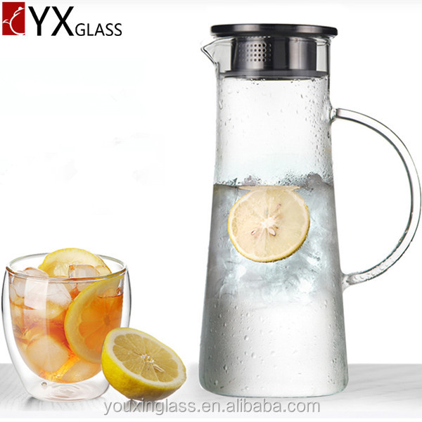 Cold brew glass pitcher stainless steel lid cap /Water carafe of borosilicate glass 1200ml