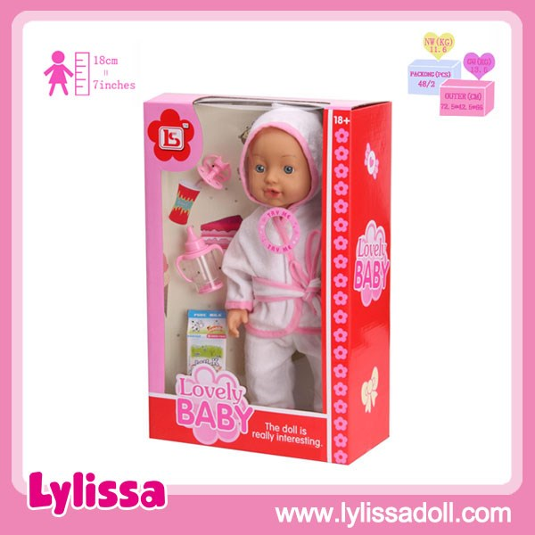 Hot Selling New Design PVC 16 Inch Cartoon Cute Toy Baby Doll with 6 IC