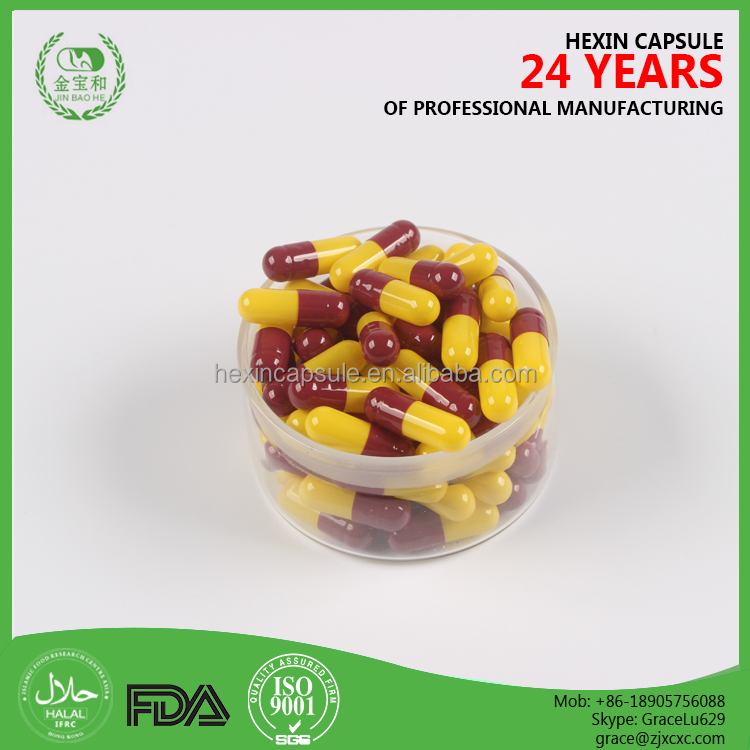 Size 00#,0#,1#,2#,3#,4# red and yellow Empty medicine capsules, medicine packing empty capsules wholesale