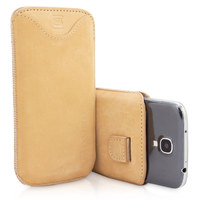 Snugg case for Samsung Galaxy S4 Pouch Case in Tan Suede